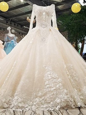 O-neck Ball Gown Long Sleeves Wedding Dress 2018