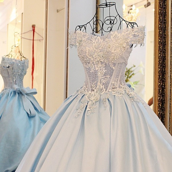 Real Sample2016 Light Blue Satin Long Formal Evening Gowns Robe De Soiree Longue Beaded Cheap Long Evening Dresses