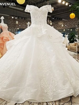Sweetheart Ball Gown Wedding Chapel Train Dress 2018