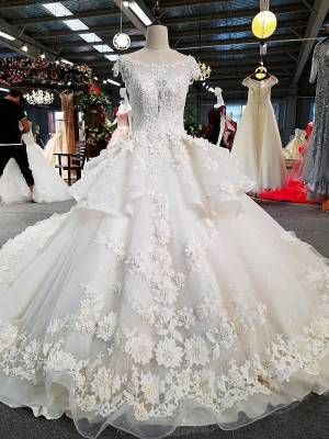 O-neck Bridal Gown Cap Shoulder Ball Gown Wedding Dress 2018