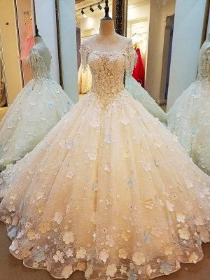 O-neck Ball Gown Wedding Dress 2018