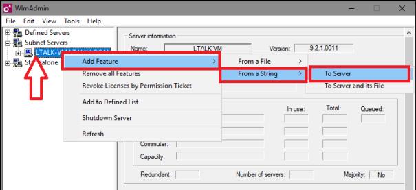 ביצוע מאפיינים על שם השרת ופתיחת תפריט להוספת קוד רישוי