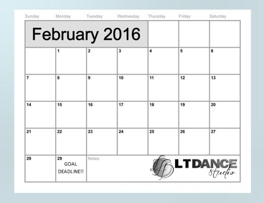 february 2016 motivational calendar