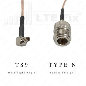 Hotspot Antenna Pigtail Adapter Cable - Type N Female Straight to TS-9 Male Right Angle - RG316 - 10 inch