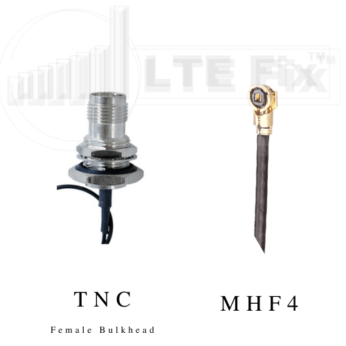 MHF4 Female (Right Angle) to TNC Female Bulkhead (Straight) Pigtail Cable