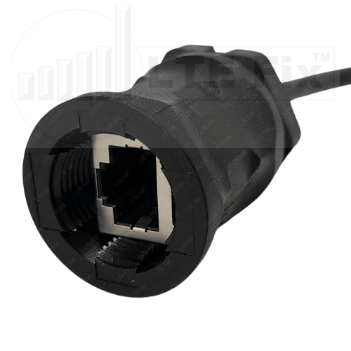 RJ45 Waterproof IP67 Bulkhead Connector with Ethernet Jumper Cable - BLK -2
