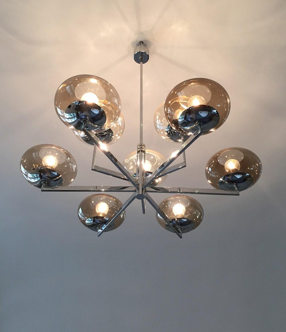 lustre gaetano scolari vintage 8 feux chrome