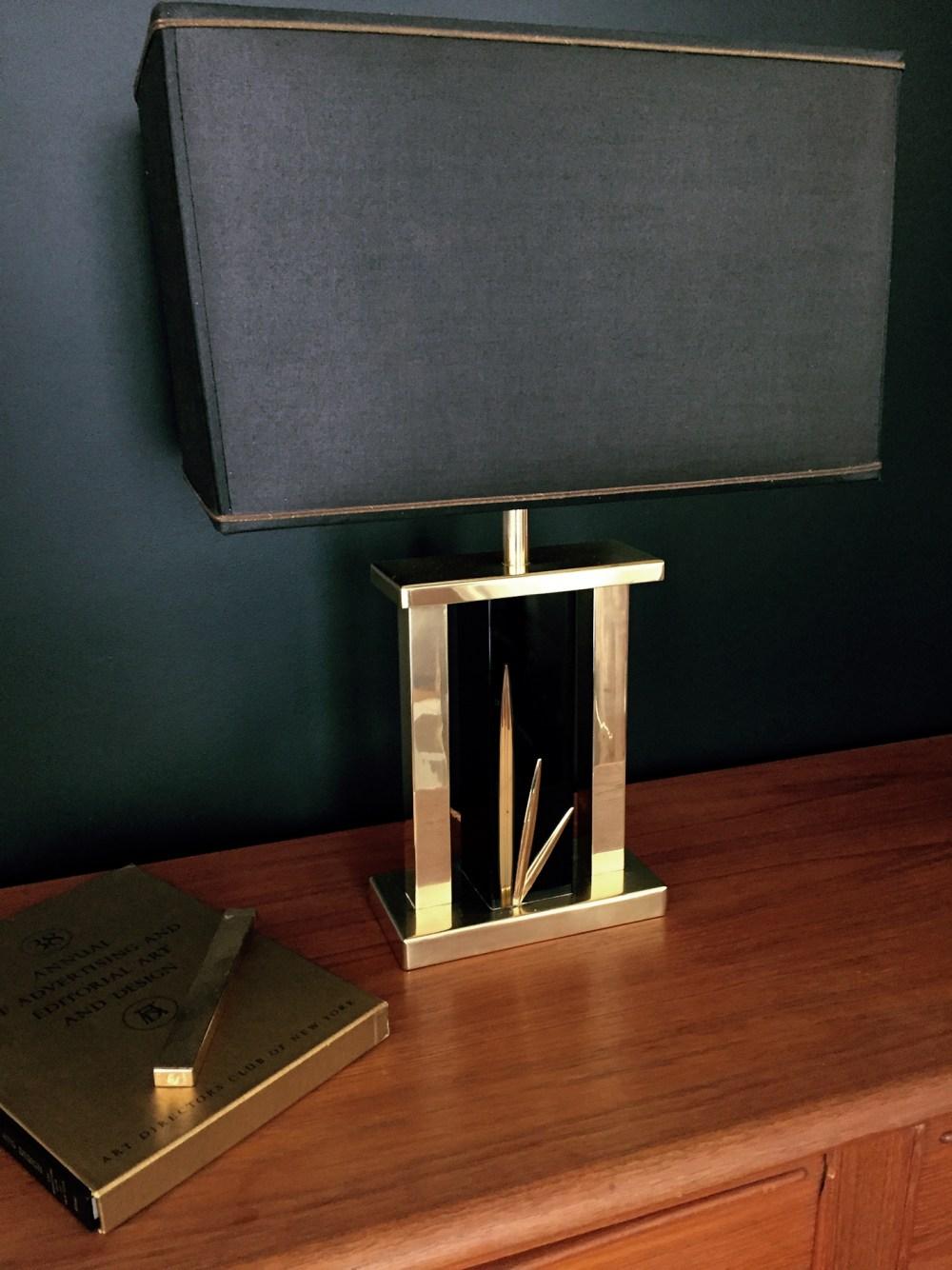 lampe drimmer laiton et noire originale 1970