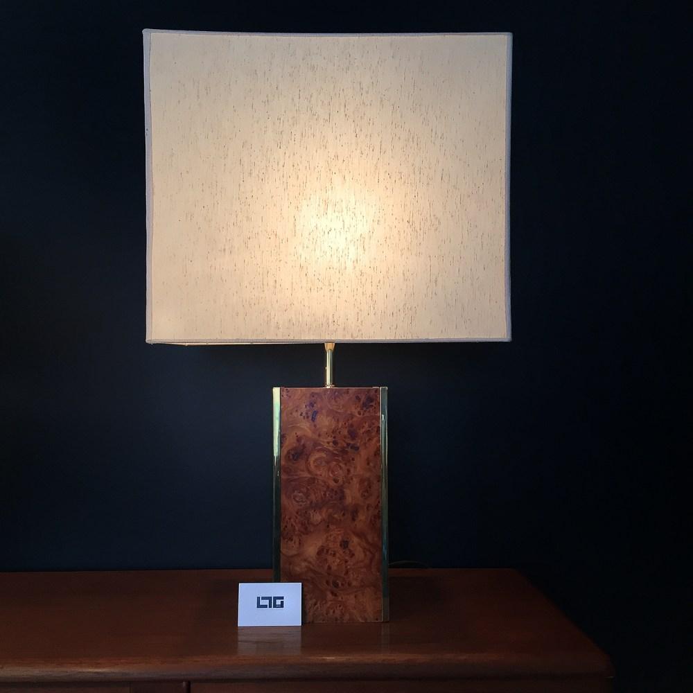 lampe de salon vintage roche bobois en loupe d'orme et laiton.