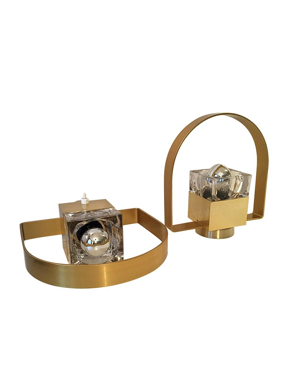 applique vintage dorée arc et verre poliarte par gaetano scolari en vente chez ltgmood.com galerie de luminaires vintage