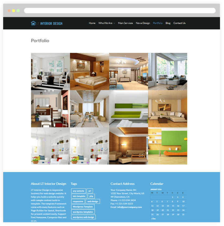 Interior design portfolio templates free for Interior design wordpress theme