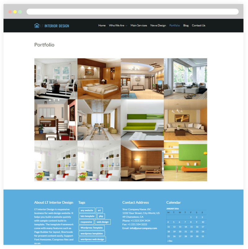 Interior Design Portfolio Website Templates
