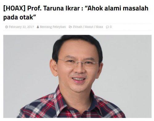"""[SALAH] Prof. Taruna Ikrar : """"Ahok termasuk pemimpin di Indonesia yang perlu diobservasi otaknya."""""""