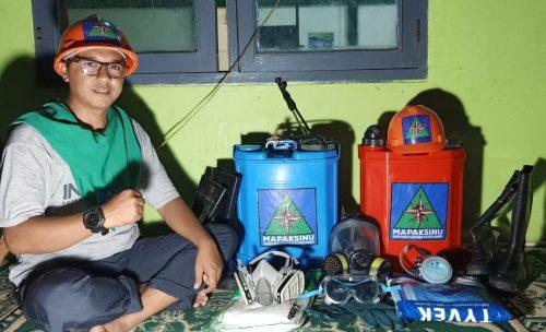 Cegah Corona : Mapaksinu Semprot Seluruh Gedung Dakwah PCNU Indramayu
