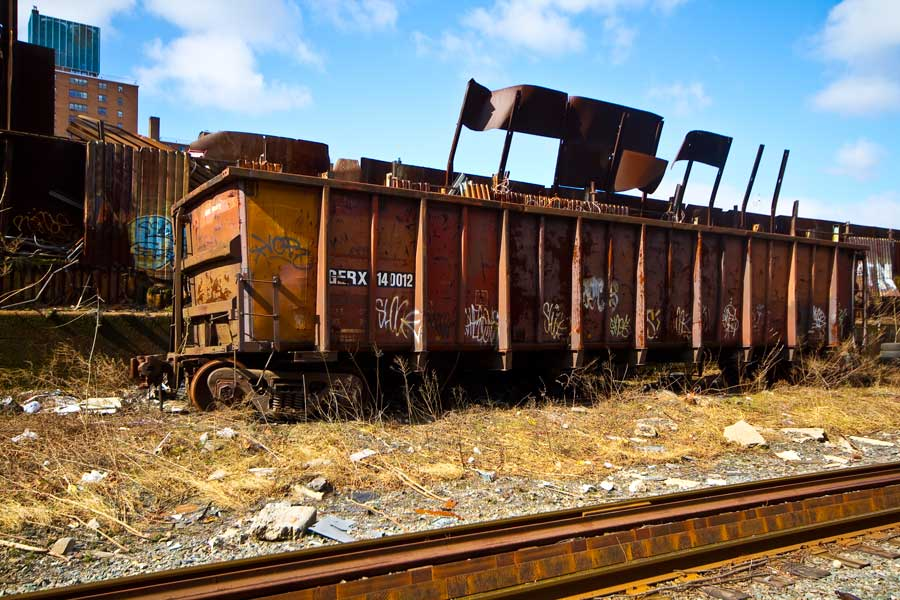 Derailed car at Gershow scrap siding
