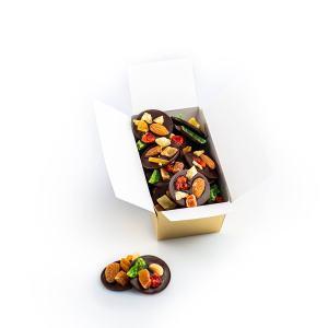 Discuri din ciocolată neagră cu fructe confiate