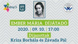 Ember Mária díjátadó – ELHALASZTVA!