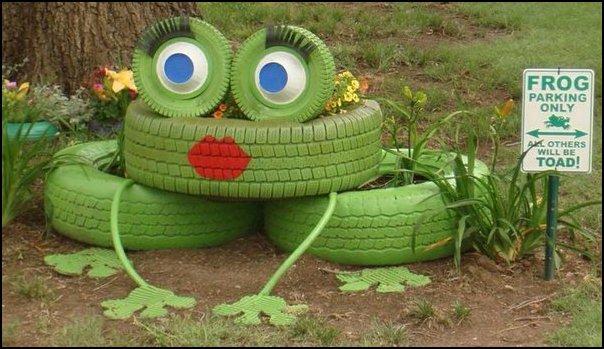 18 frog tire planter - COMO DECORAR GASTANDO POUCO COM PNEUS