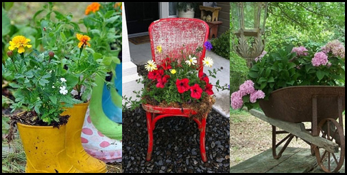 deixar o jardim lindo reaproveitamento materiais - FAÇA SEU JARDIM EM QUALQUER CANTO