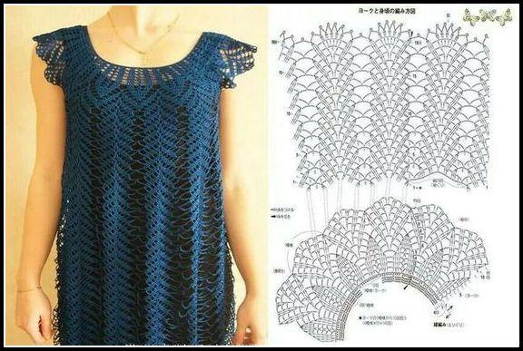 vestido crochê azul com grafico - VESTIDOS DE CROCHÊ COM GRÁFICO PARA IMPRIMIR