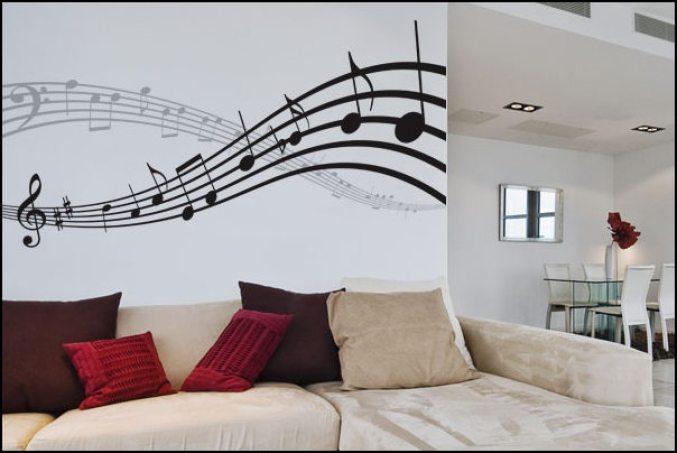 adesivo parede decoracao nota musical - COMO DECORAR GASTANDO POUCO COM ADESIVOS