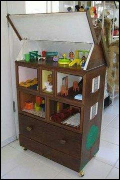 casinha de bonecas com gavetas - IDEIAS PARA DECORAR SUA CASA UTILIZANDO GAVETAS VELHAS
