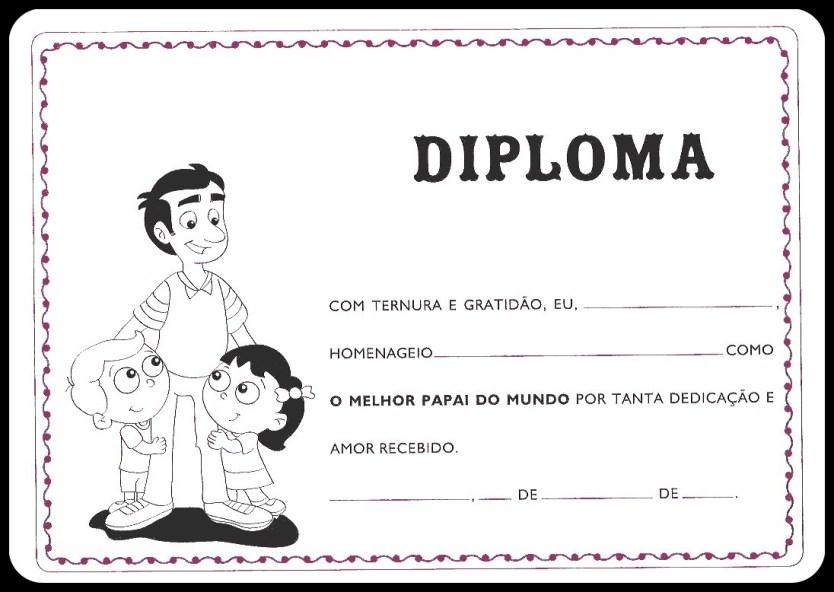 diploma pai certificado dia dos pais 4 - CARTÕES E MENSAGENS PARA O DIA DOS PAIS PARA IMPRIMIR