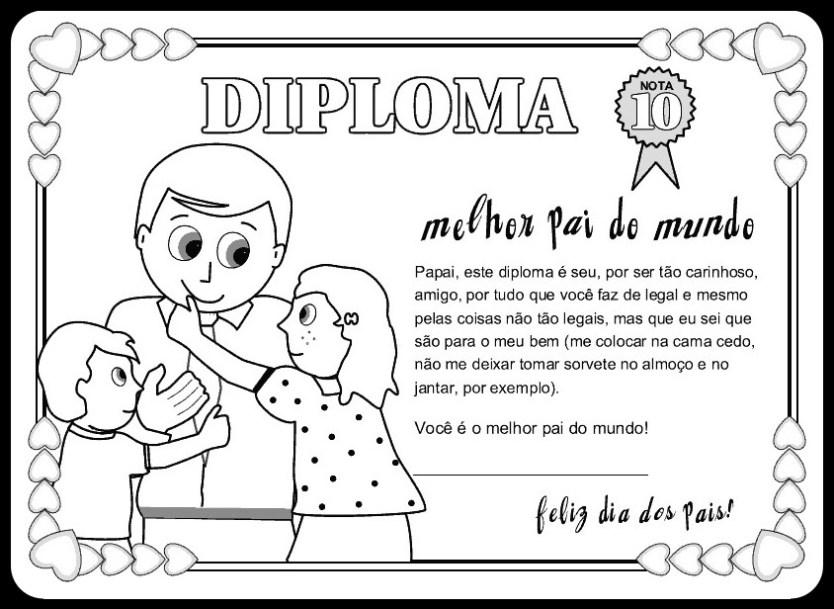 diploma pai certificado dia dos pais - CARTÕES E MENSAGENS PARA O DIA DOS PAIS PARA IMPRIMIR