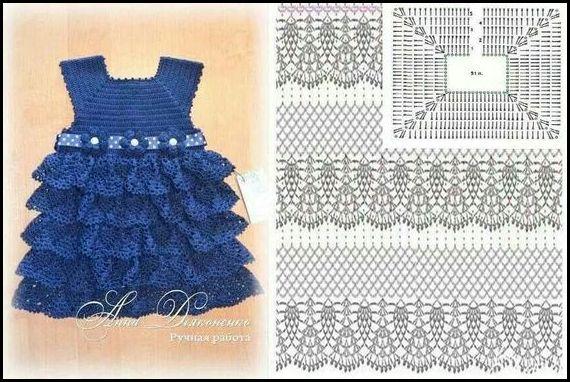 vestido azul inf.com grafico - VESTIDOS INFANTIS DE CROCHÊ COM GRÁFICOS