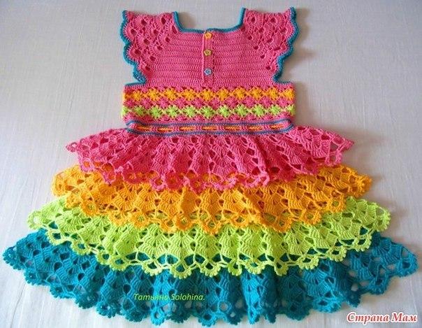 vestido infantil colorido2 - VÁRIOS MODELOS DE VESTIDOS INFANTIS DE CROCHÊ