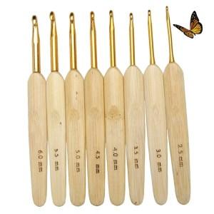 Kit agulhas de crochê cabo bambu