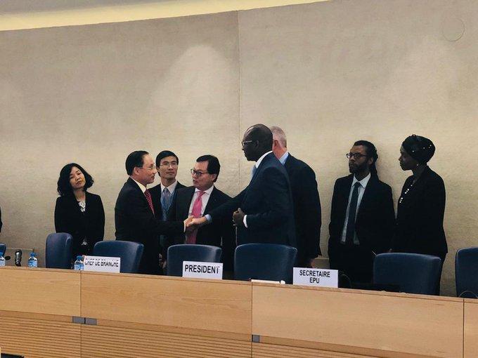 Phái đoàn ngoại giao Việt Nam tại phiên điều trần UPR tháng 1/2019 tại Hội đồng Nhân quyền Liên Hợp Quốc. Ảnh: HRC Secretariat.