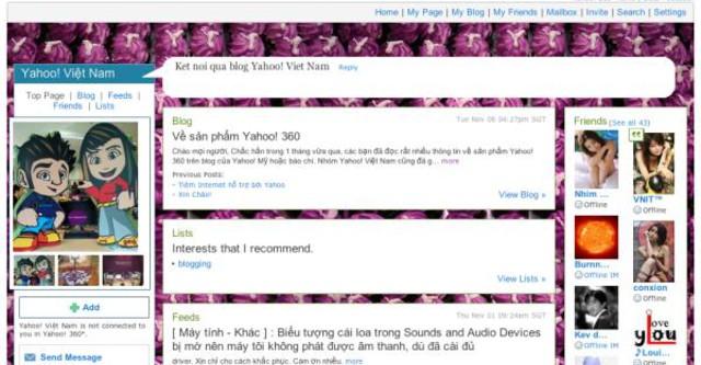 Mạng xã hội Yahoo 360° đình đám một thời. Ảnh: thongtincongnghe.com.