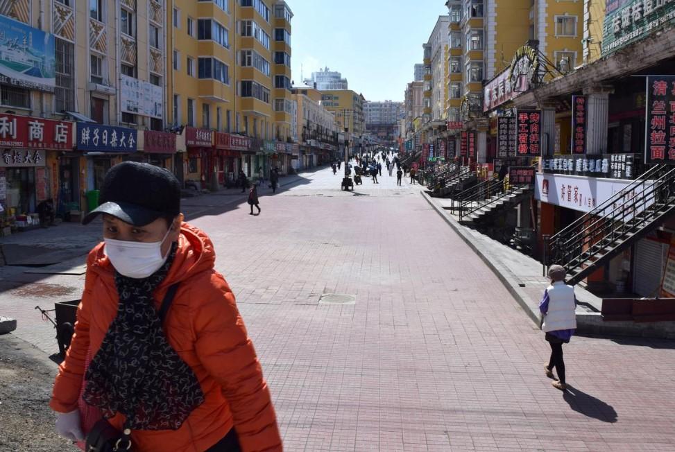 Thành phố Suifenhe ở tỉnh Hắc Long Giang, Trung Quốc, giáp ranh với Nga, ngày 12/4/2020. Ảnh: Reuters.