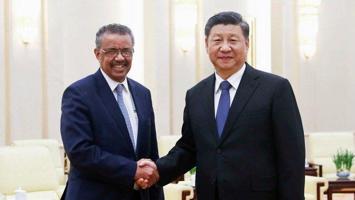 Ông Tedros gặp Chủ tịch Trung Quốc Tập Cận Bình tháng Một năm nay. Ảnh: Ju Peng Xinhua / eyevine / Redux.