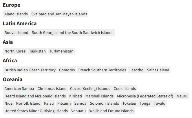 Danh sách các quốc gia và vùng lãnh thổ chưa có ca nhiễm COVID-19 tính đến ngày 20/2/2020. Ảnh: Reuters.
