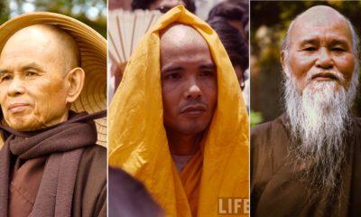 Thiền sư Thích Nhất Hạnh, Hòa thượng Thích Trí Quang, và Hòa thượng Thích Quảng Độ. Ảnh: PVCEB, LIFE, AFP.