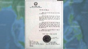Công hàm Phạm Văn Đồng. Nguồn: WikiCommons/VOA.