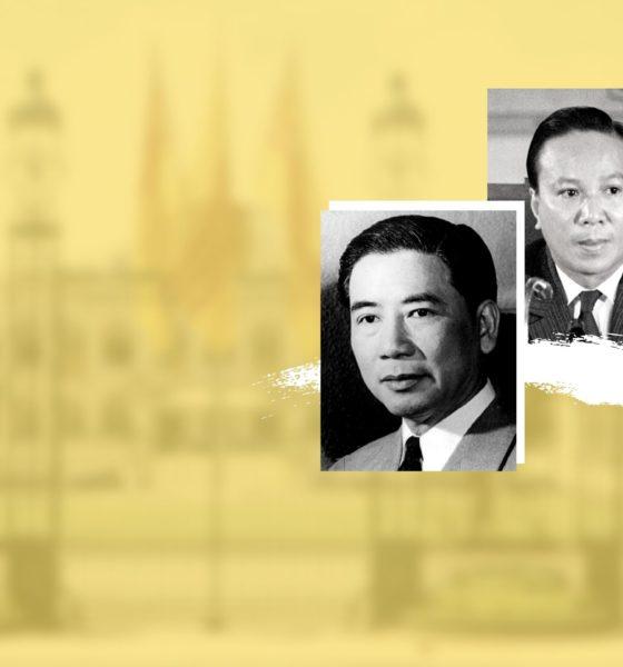 Hai tổng thống Ngô Đình Diệm và Nguyễn Văn Thiệu của Việt Nam Cộng hòa. Ảnh: Chưa rõ nguồn. Đồ họa: Luật Khoa.