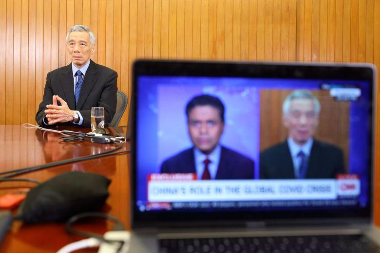 Thủ tướng Singapore Lý Hiển Long trong cuộc phỏng vấn trên đài CNN ngày 29/3/2020. Ảnh: Bộ Truyền thông và Thông tin Singapore.