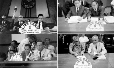 Các liên danh tranh cử ở miền Nam ra mắt cử tri năm 1967. Ảnh: Chân Trời Mới/Chưa rõ nguồn.