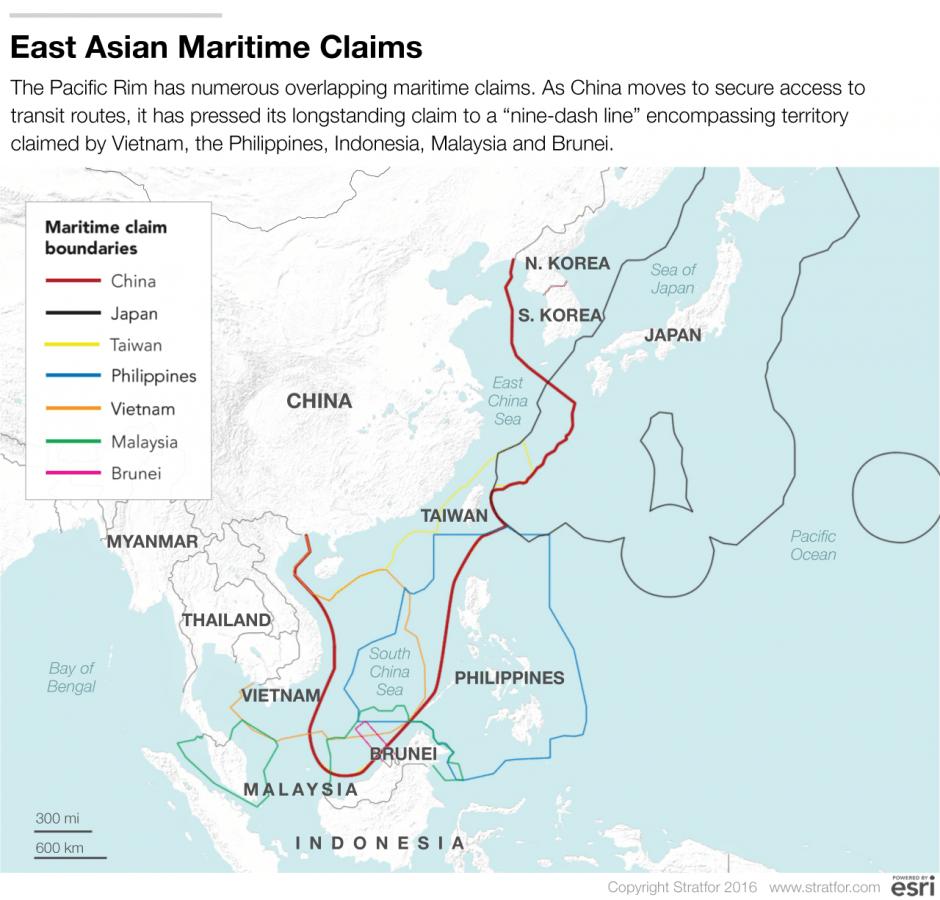 Đường lưỡi bò do Trung Quốc vẽ ra để đòi chủ quyền trên Biển Đông và một số vùng khác. Ảnh: