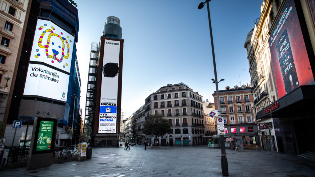 Một khu vực vắng vẻ ở thủ đô Madrid của Tây Ban Nha, ngày 14/3/2020. Ảnh: Getty Images.