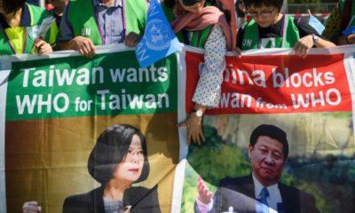 Một hoạt động ủng hộ Đài Loan gia nhập WHO. Ảnh: AFP.