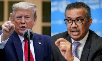 Tổng thống Mỹ Donald Trump và giám đốc WHO Tedros Adhanom Ghebreyesus. Ảnh: wionews.com.