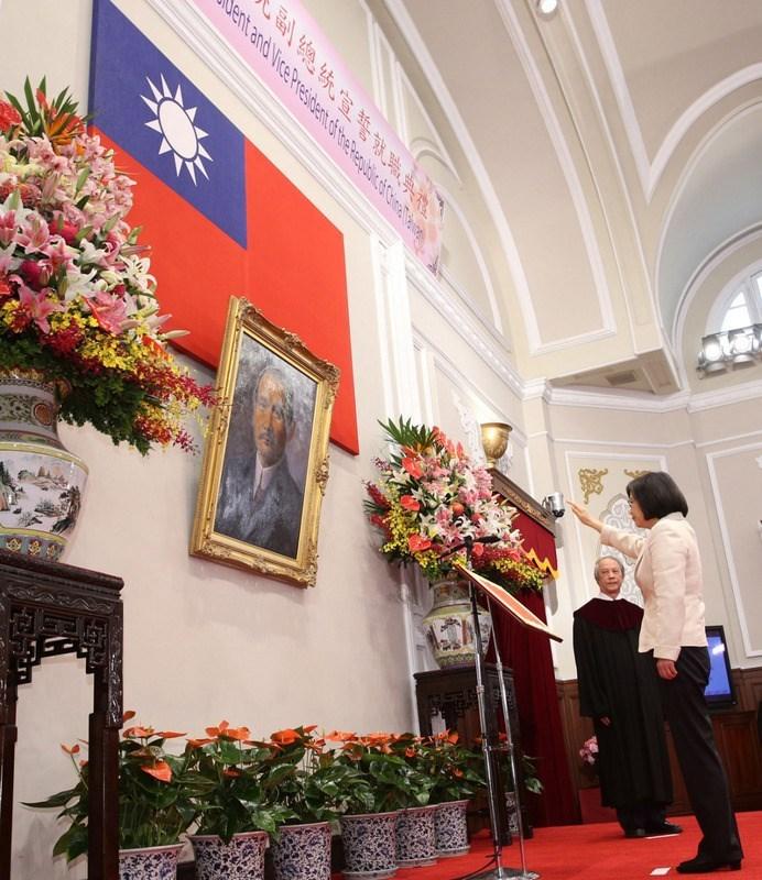 Bà Thái Anh Văn trong lễ tuyên thệ nhậm chức ngày 20/5/2020. Ảnh: AFP.
