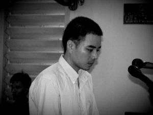 Hồ Duy Hải tại phiên tòa sơ thẩm. Ảnh: Báo Lao Động.