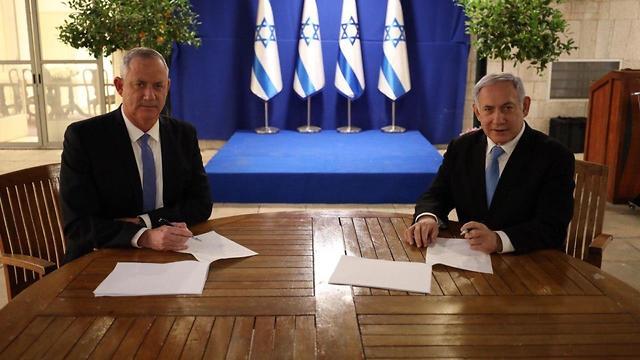 Ông Benny Gantz và ông Benjamin Netanyahu. Ảnh: jewishbusinessnews.com.