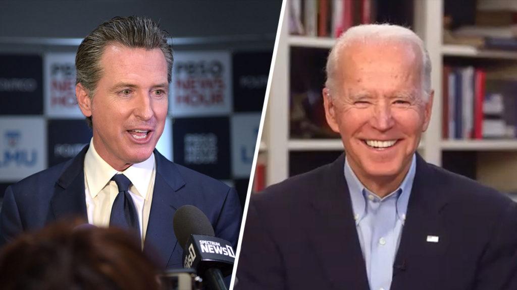 Thống đốc California Newsom và ứng cử viên Biden. Ảnh: NBC News.