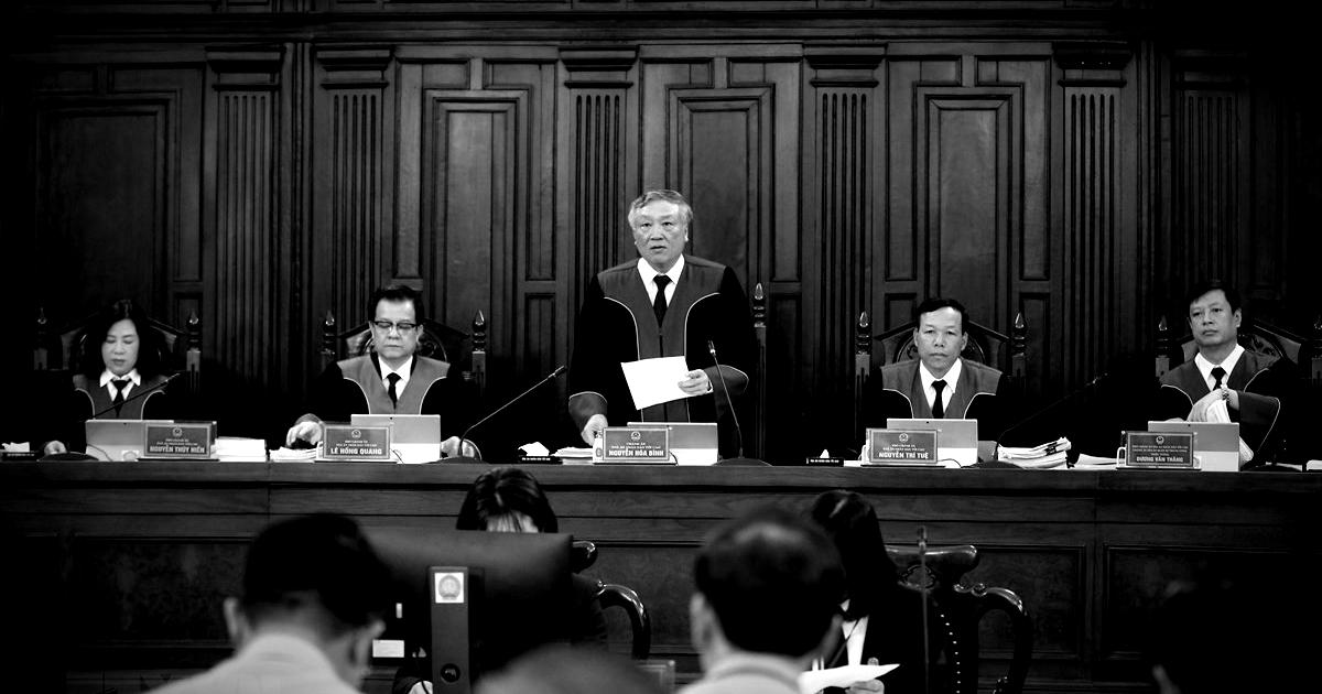 Hình ảnh phiên tòa giám đốc thẩm vụ án Hồ Duy Hải. Ảnh: TTXVN.